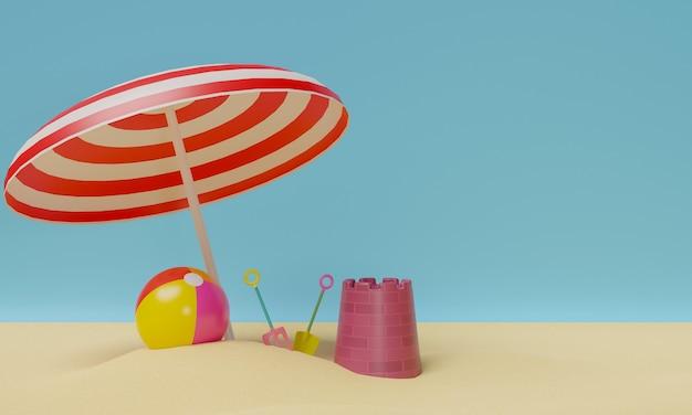 Summer beach with sand castle kit and beach ball under beach umbrella