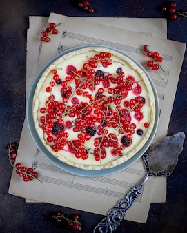 Summer berry tart pie with ricotta cottage cheese