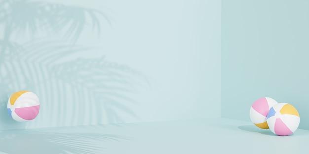 Летний синий баннер с надувными пляжными мячами и тенями тропических листьев, 3d визуализация