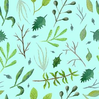 Летний ботанический бесшовный образец с зелеными листьями и ветками на голубом фоне