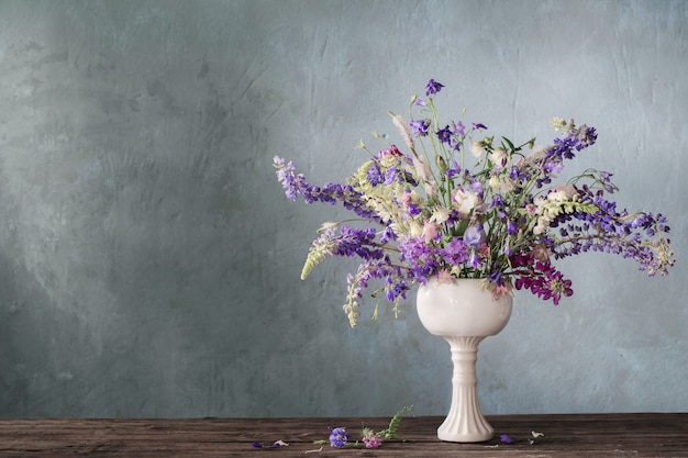 Summer bouquet in blue and violet colors