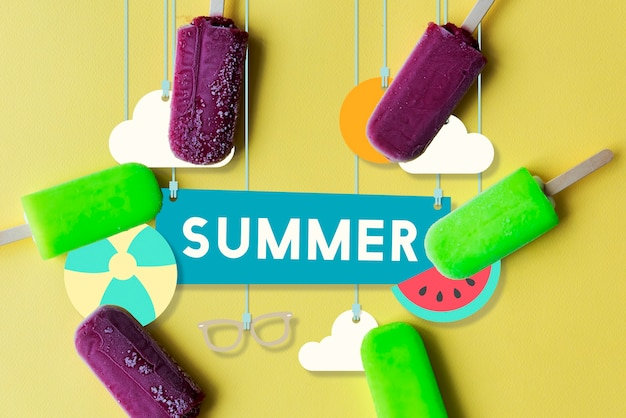 여름 방학 재미 파티 배너 개념