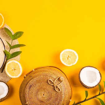 Summer bright yellow background with a straw bag
