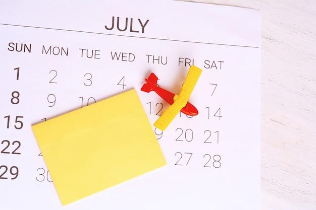 Summer calendar schedule.