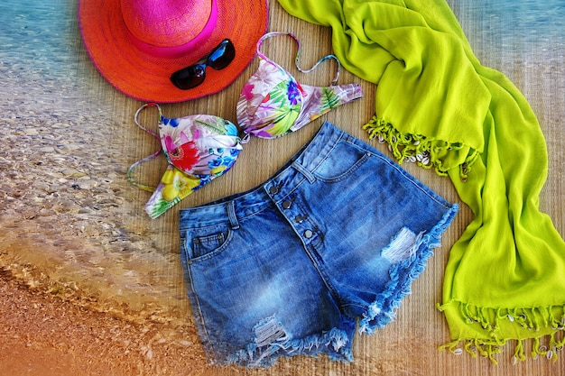 Summer clothes on the flat surface