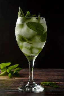 Summer cocktail or drink in wine glass. refreshing drink with mint leaves, gin tonic, syrup.