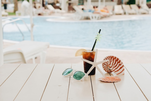 Summer cocktail in the water park on vacation