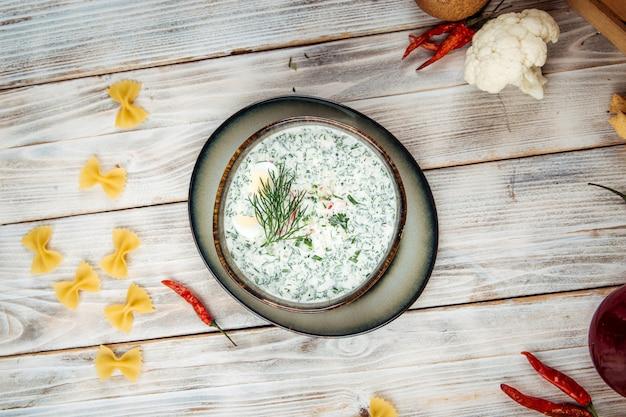 Summer cold soup russian cuisine okroshka