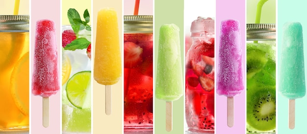 Summer collage of cold drinks and popsicle sticks