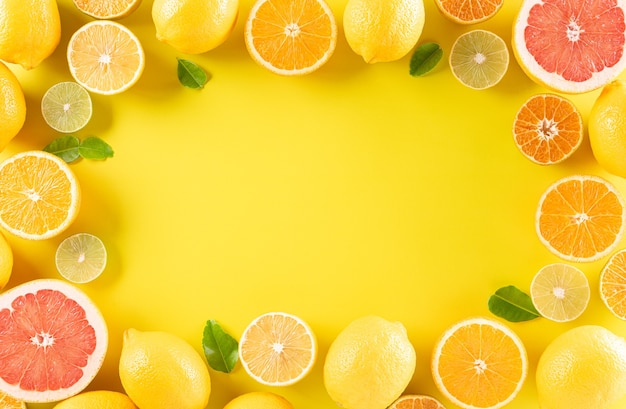 Summer composition made from oranges, lemon or lime