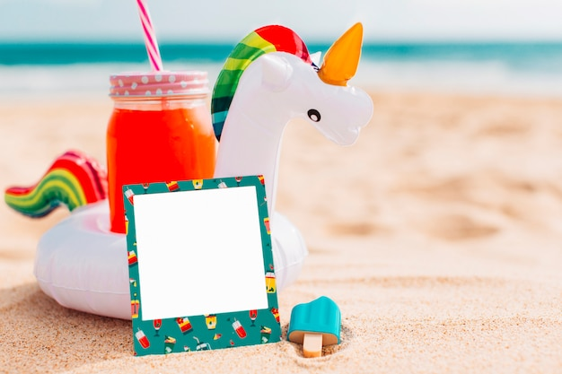 Summer composition for mockup with unicorn