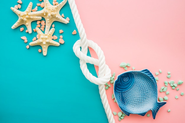 Summer composition with blue fish and starfish