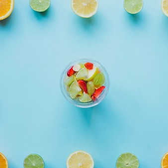 Summer composition with colored fruits