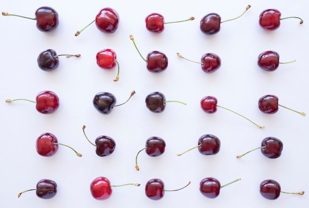 Summer composition with variety of cherries