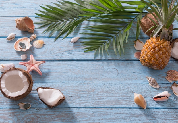 Summer composition on wooden table