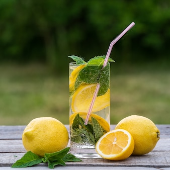 Summer concept. lemonade with lemon, mint and ice in glasses