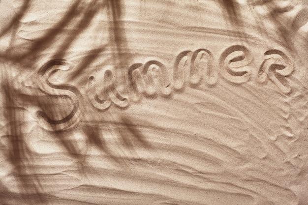 열대 야자수의 그림자가 있는 여름 컨셉은 하얀 해변 모래에 카피스페이스를 남깁니다