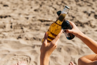 Summer concept with beer at the beach