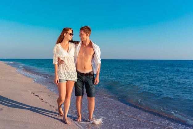 Summer couple at beach