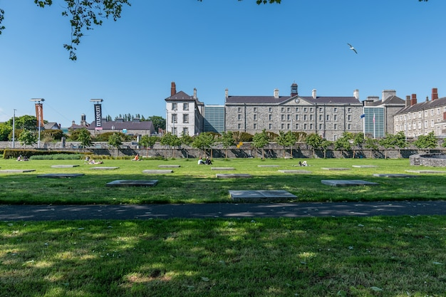 Summer day in dublin city,people enjoying the sun in croppies acre memorial park