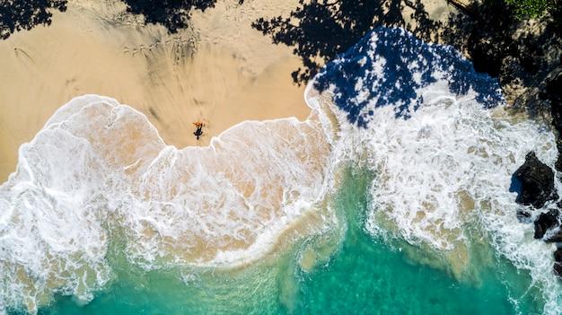 Summer day over ocean beautiful beach aerial view
