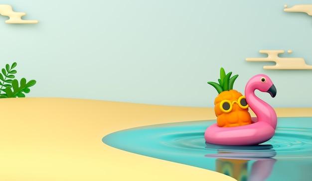 パイナップルと膨脹可能なフラミンゴの夏の装飾の背景