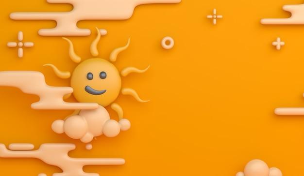 太陽雲の漫画のスタイルで夏の装飾の背景
