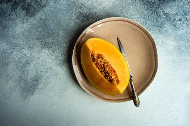Summer dessert with honey melon