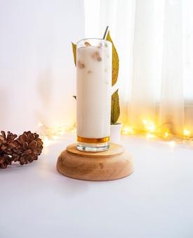 Summer drink concept. cold drink milk honey regal bread. cold milk drink recipe