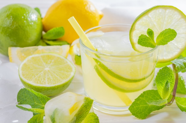 Summer drink mojito with lime, lemon and mint