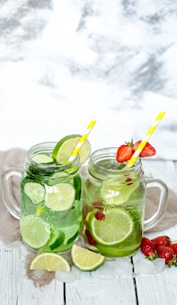 Summer drink with cucumber and lime