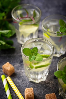 Summer  drink with lime and mint