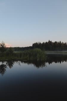 Летний вечер в сумерках на живописной равнинной глади озера с отражениями неба и деревьев.