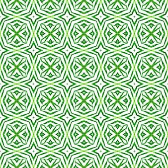 夏のエキゾチックなシームレスボーダー。緑の本物の自由奔放に生きるシックな夏のデザイン。テキスタイルレディトレンドプリント、水着生地、壁紙、ラッピング。エキゾチックなシームレスパターン。