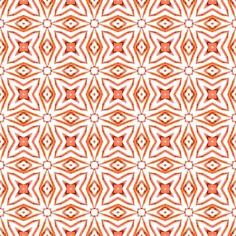 夏のエキゾチックなシームレスボーダー。オレンジの圧倒的なボホシックな夏のデザイン。エキゾチックなシームレスパターン。テキスタイルレディの形の良いプリント、水着生地、壁紙、ラッピング。
