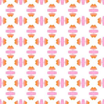 夏のエキゾチックなシームレスボーダー。オレンジ色の豪華な自由奔放に生きるシックな夏のデザイン。エキゾチックなシームレスパターン。テキスタイル対応の最適なプリント、水着生地、壁紙、ラッピング。