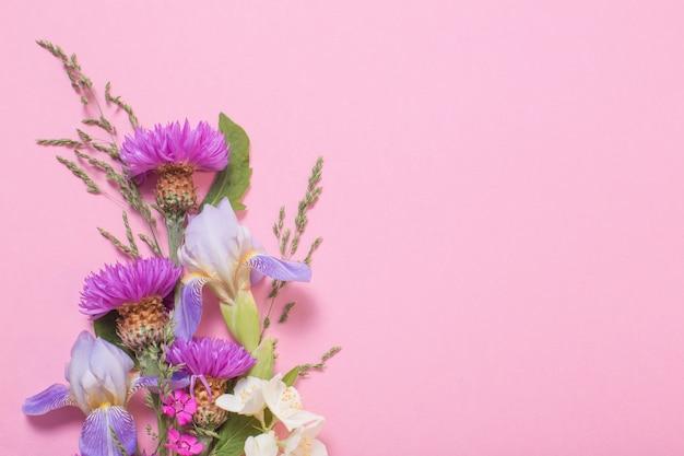 Летние цветы на розовой бумаге