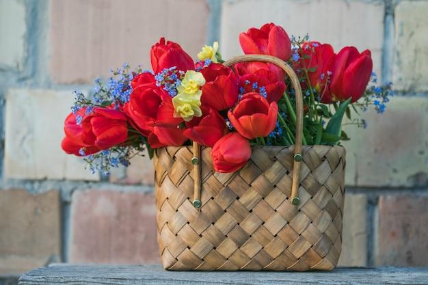 Summer  flowers in straw basket