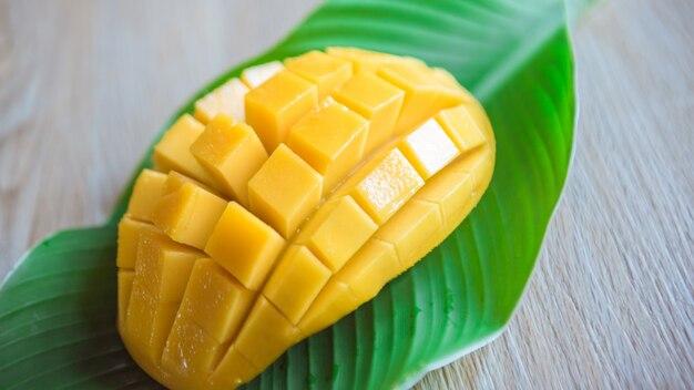Summer fresh fruit mango on the wooden table