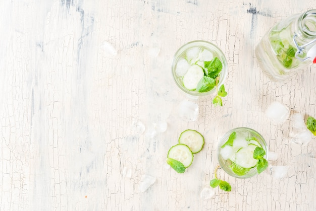 Summer fresh iced drink, mint and cucumber infused water, summer healthy detox mojito cocktail