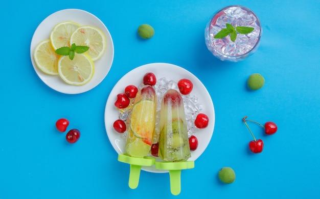 Summer fresh popsicle fruit background