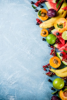 Summer fruit and berries