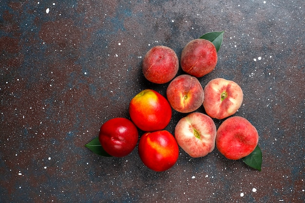 Summer fruits: fig peaches,nectarine and peaches,top view