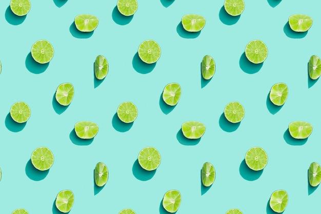 여름 과일 평면도, 밝은 주스 감귤 녹색 라임
