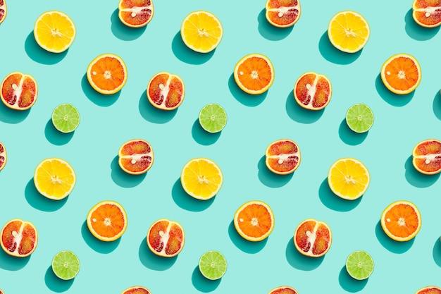 여름 과일 평면도, 밝은 주스 감귤류, 레몬, 오렌지 및 라임