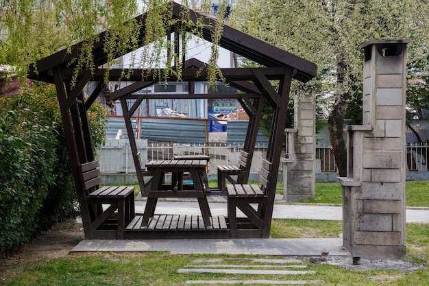 Summer gazebo for rest and picnic next to the barbecue in one of the parks in istanbul