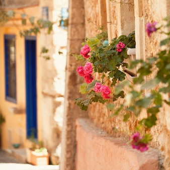 Summer in greece crete, chania old town abstract background