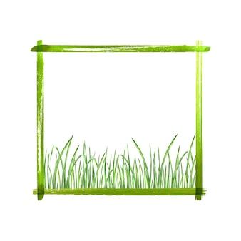 テキストの場所と白い背景で隔離の緑の草と夏の緑のボーダーフレーム。水彩手描きイラスト