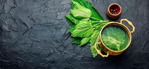 Летний суп из зеленой крапивы. похлебка из свежей крапивы. крем-суп. пространство для текста, длинный баннер