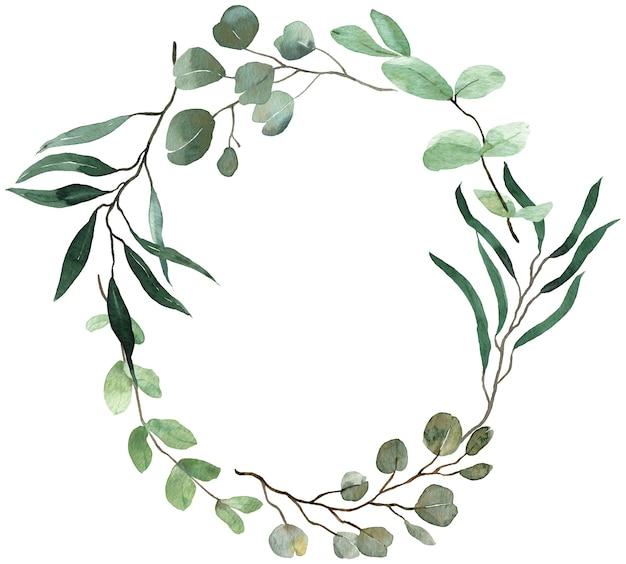 夏の緑の花輪。ユーカリ、春の緑のフレーム。結婚式の花の招待状フレーム。水彩ヴィンテージフレーム。